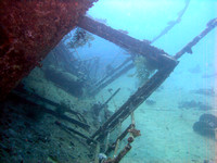 The wreck of Marcus (Tile Wreck) at Abu Nuhas, rear (stern) end. The ship was 80 m long.